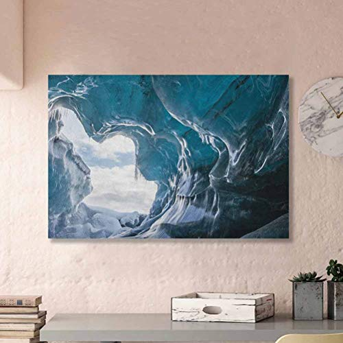 Cave Simple Poster Inside of The Famous Vatnajokull Glacier in Iceland with Icicles Charcoal Grey Pale Blue White L24 x H48 Inch