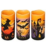 "DRomance Flameless Flickering Candles Battery Operated with 6 Hour Timer, Set of 3 Real Wax LED Pillar Candles Warm Light with Castle, Witch, Bats Decal Halloween Decor Candles for Kids(D3"" x H6"")"