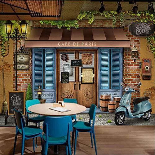 Ponana Individuelle Wandtapete 3D Retro Vintage Paris Café Fototapete Café Restaurant Wohnzimmer Wandtapete Tapeten Wohnkultur-280X200Cm