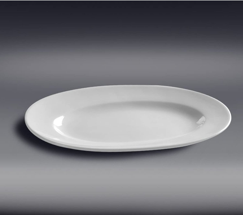 DXG&FX Plaque De Poissons Ourlet Profonde Plaques Céramiques Plateau Ovale Privé-22.5 Pouces