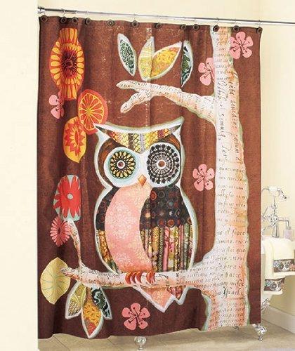 BBFhome Rideaux de douche Rideau 120 X 180 CM hibou ami Art Déco décoration salle de bain