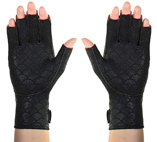 "Thermoskin Arthritic Fingerless Gloves, Black, Small, 7""-7 3/4"" (18-20 cm)"