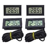 4Pz Termometro per Acquario Termometro Digitale LCD Monitor di Temperatura per Frigorifero Congelatore con Sonda Impermeabile Temperatura Acqua Indicatore (Nero)