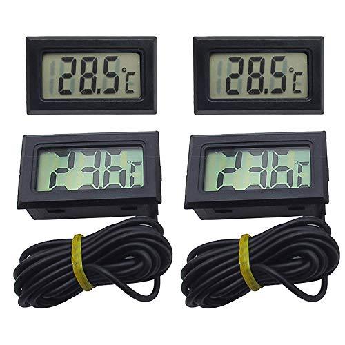 4PCS Mini Digital LCD Thermomètre Hygromètre Moniteur de Température avec Sonde pour Réfrigérateur Congélateur Réfrigérateur Aquarium Humidité -50~70 ℃ 10% ~ 99% RH (Noir)