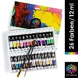 OfficeTree Acrylfarben Set 26 Tuben à 12 ml - Auf Wasserbasis - Acrylic Paint für Acrylmalerei - Für Papier, Leinwand, Holz, Stein UVM