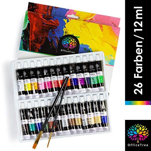 OfficeTree Acrilicos para Pintar 26 Tubos de 12 ml - Alta Pigmentación a Base de Agua - Kit Pintura Acrilica - Secado Rápido