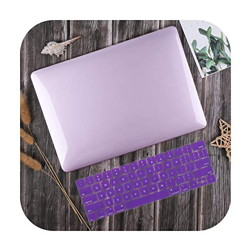 For MacBook Air 13 inch Case 2020 M1 A2337 A2179 Crystal Smooth Plastic Hard Cover for Mac book Pro 13-inch A2338 A2251 A2289-Purple-Pro Retina 15 A1398