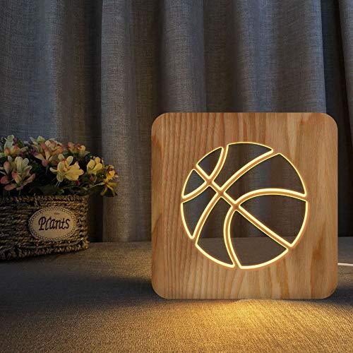 Baloncesto tema 3D lámpara de madera LED noche luz hogar decoración creativa lámparas de mesa para regalos