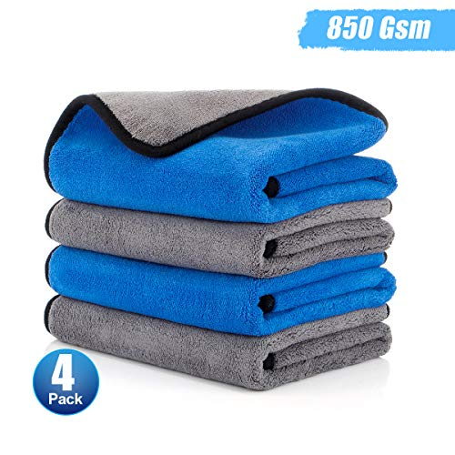 Hutigertech Microfiber Cleaning Cloths 4 Pack Microfiber Towels Lint Free Double Layer Soft Thick Microfiber Cloth for Cars Detailing Or Drying, Home 15'' x 18''