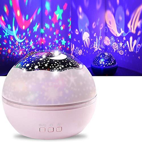 Shayson Star Night Light Projector, Starry Night Lamp Moon Star Sea Animals Projector Night Light for Kids Bedroom