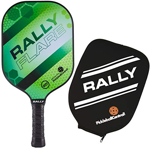 Rally Flare Graphite Pickleball Paddle - Green | Polymer Honeycomb Core, Graphite Face | Lightweight Control, Power, Spin | Paddle Cover Included in Bundle | USAPA Approved
