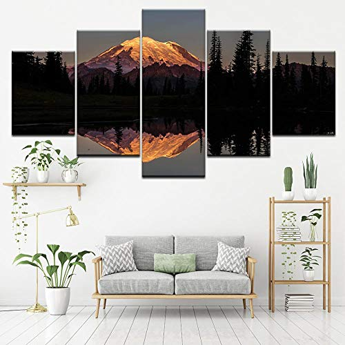 LWJPD Cuadro en Lienzo 5 Partes Paisaje De Puesta De Sol Mural Mural Papel Tapiz Modular Impresión De Carteles Decoración del Hogar En Mount Rainier Lake Park Sin Marco 20 Inch
