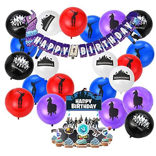 Smileh Video Gaming Spiel Partyzubehör Set Jungs Geburtstag Party Favors Banner für Geburtstag Junge Kindergeburtstag Dekoration