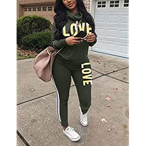 Women's Letter Print 2 Piece Outfit Cowl Neck Long Sleeve Sweatshirt and Pants Joggers Set Tracksuit Army Green Large