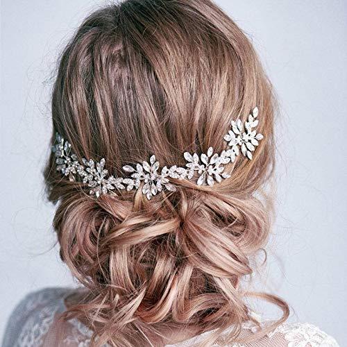 Edary Braut Hochzeit Haar Ranken Silber Perle Haarschmuck Brautschmuck Strass Kopfschmuck für Frauen und Mädchen