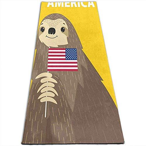 Sloth Bienvenue Aux Tapis De Yoga en Amérique Tapis De Yoga Spéciaux pour Yoga, Pilates, Exercices Au Sol, Stretch [61X180Cm]