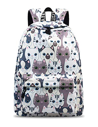 YANAIER Mädchen Schulrucksack Modischer Freizeitrucksack für Frauen Teenager Jungen Wasserdicht Tasche Schulranzen Tagesrucksack mit Laptopfach (Katze)
