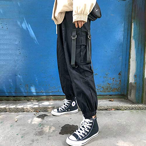 haochenli188 Casual Joggers Black Women Hip Hop Streetwear Pants Funny High Waist Loose Female Trousers Fashion Ladies Pants With Side Pocket L 1