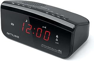 MUSE M-12 CR wekkerradio (PLL-tuner, 2 wektijden, 1,5 cm (0,6 inch) rood led-display) zwart