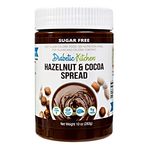 Diabetic Kitchen Sugar Free Hazelnut Chocolate Spread - Keto Friendly 1 Net Carb - No Erythritol or Sugar Alcohols - 9g Fiber Non-GMO