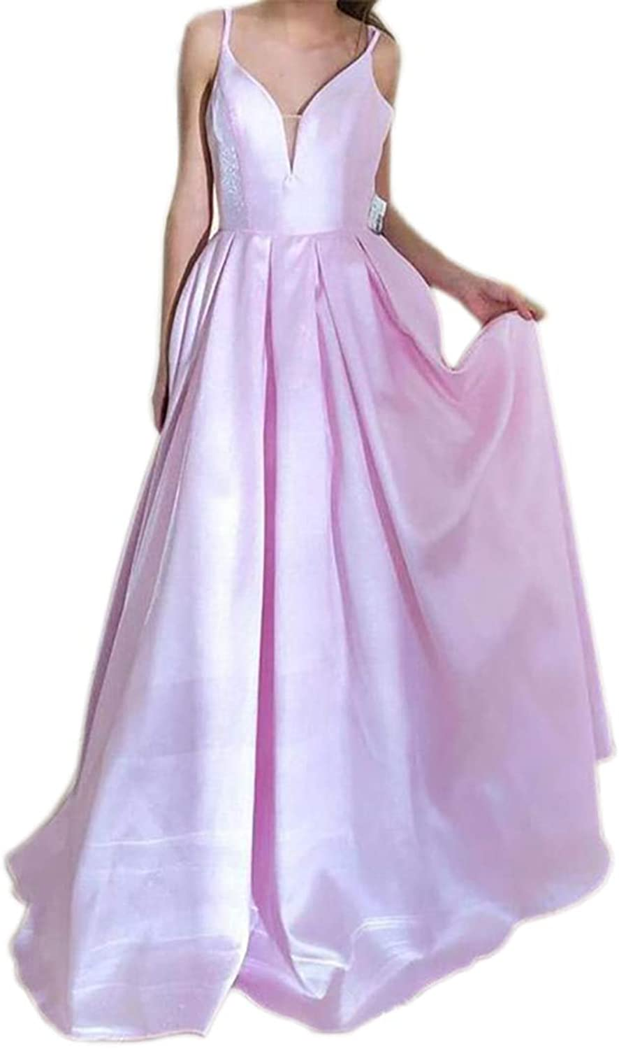 ONLYCE ALine Spaghetti Straps VNeck Satin Long Prom Dress Formal Evening Gowns
