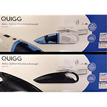 Quigg md16797 – Aspiradora de mano batería Aspiradora de Baterías Húmedo y ciclónico trockens Ojos Adecuado Ion de litio, tecnología LGA Tested Quality Max. 45 W: Amazon.es: Hogar