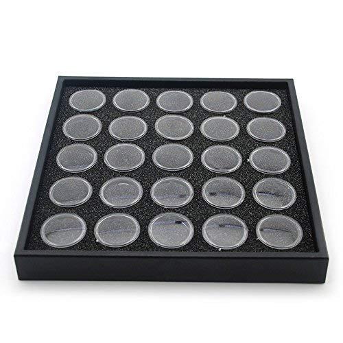 Beauticom 25 Half-Size Gem & Coin Jars Black Stackable Display Travel Tray