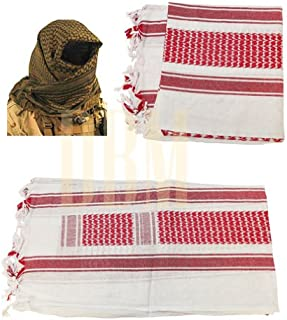 Military Shemagh Tactical Arab Desert Keffiyeh Scarf Head Wrap White and Red