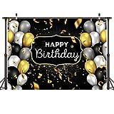 LYWYGG 7x5FT Recipientes de fotografía para recién Nacidos Telón de Fondo de cumpleaños Globos de Oro Negros Brillantes Estrellas Brillantes Fiesta de cumpleaños Fondo Photo Studio Stand CP-244