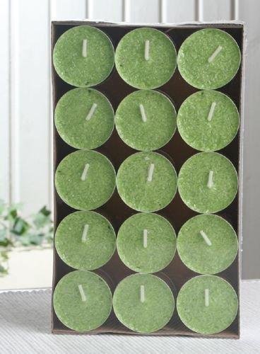30er-Packung Bio-Teelichter / Stearin-Teelichter, grün