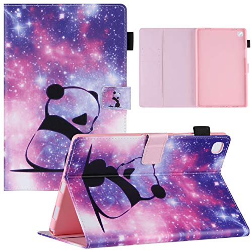 KM-WEN Tablet Case for Samsung Galaxy Tab A7 SM-T500/T505 (10.4 Inch) Bookstyle Panda Pattern PU Leather Wallet Flip Cover Case Bag with Stand Protective Cover Color-4