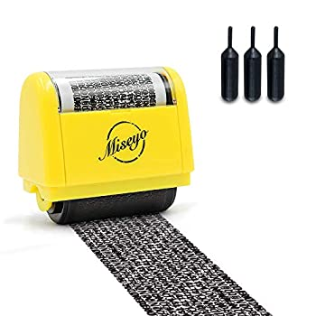 Miseyo Wide Identity Theft Protection Roller Stamp Set - Yellow  3 Refill Ink Included