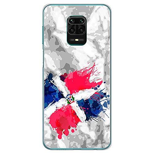 BJJ SHOP Funda Transparente para [ Xiaomi Redmi Note 9s / Xiaomi Redmi Note 9 Pro ], Carcasa de Silicona Flexible TPU, diseño : Bandera Republica Dominicana, Pintura de brocha Fondo Abstracto