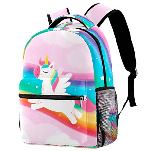 Kids Backpack Boys Girls Backpack Children's School Backpack Book Bag with Side Pockets Rainbow Unicorn
