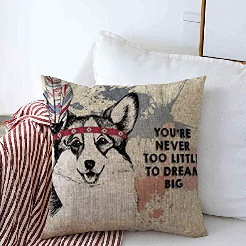 N\A Throw Pillow Covers Drawn Close Welsh Corgi Pembroke mit indischer Feder Kopfbedeckung Big Domestic Pet Dog Rose Wildlife Kissen Kissenbezug Leinen Hüllen für Winter Home Decoration