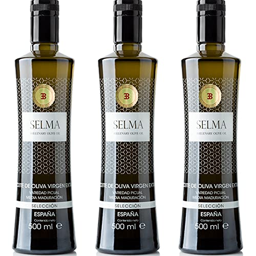 Aceite de Oliva Virgen Extra Gourmet. AOVE picual media maduración Selección - Selma Millenary Olive Oil - Botella 500 ml. Diseñada por Monica Armani