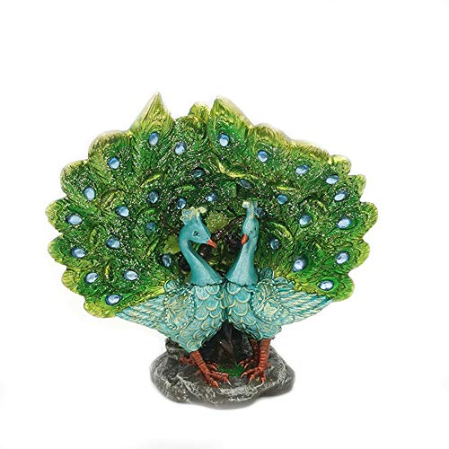 TYX Peacock Sculptures, Creative Peacock Open Screen Resin Crafts, Couple Peacock Exquisite Modern Home Decoration Ornaments,A,19 * 8 * 26cm
