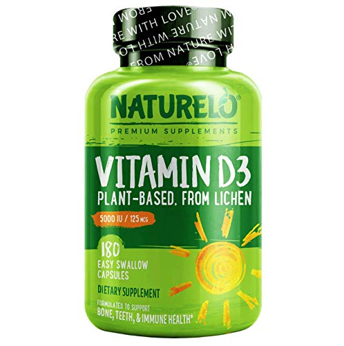 NATURELO Vitamin D - 5000 IU - Plant Based - from Lichen - Best Natural D3 Supplement for Immune System, Bone Support, Joint Health - Whole Food - Vegan - Non-GMO - Gluten Free - 180 Capsules