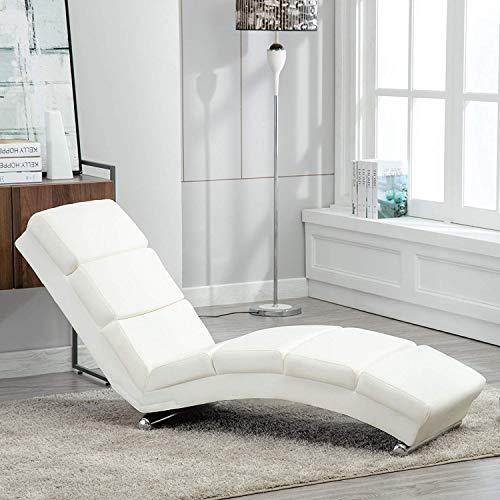 mecor Chaise Longue/Canapé/Méridienne Salon en Cuir Chaise de détente Moderne Blanc