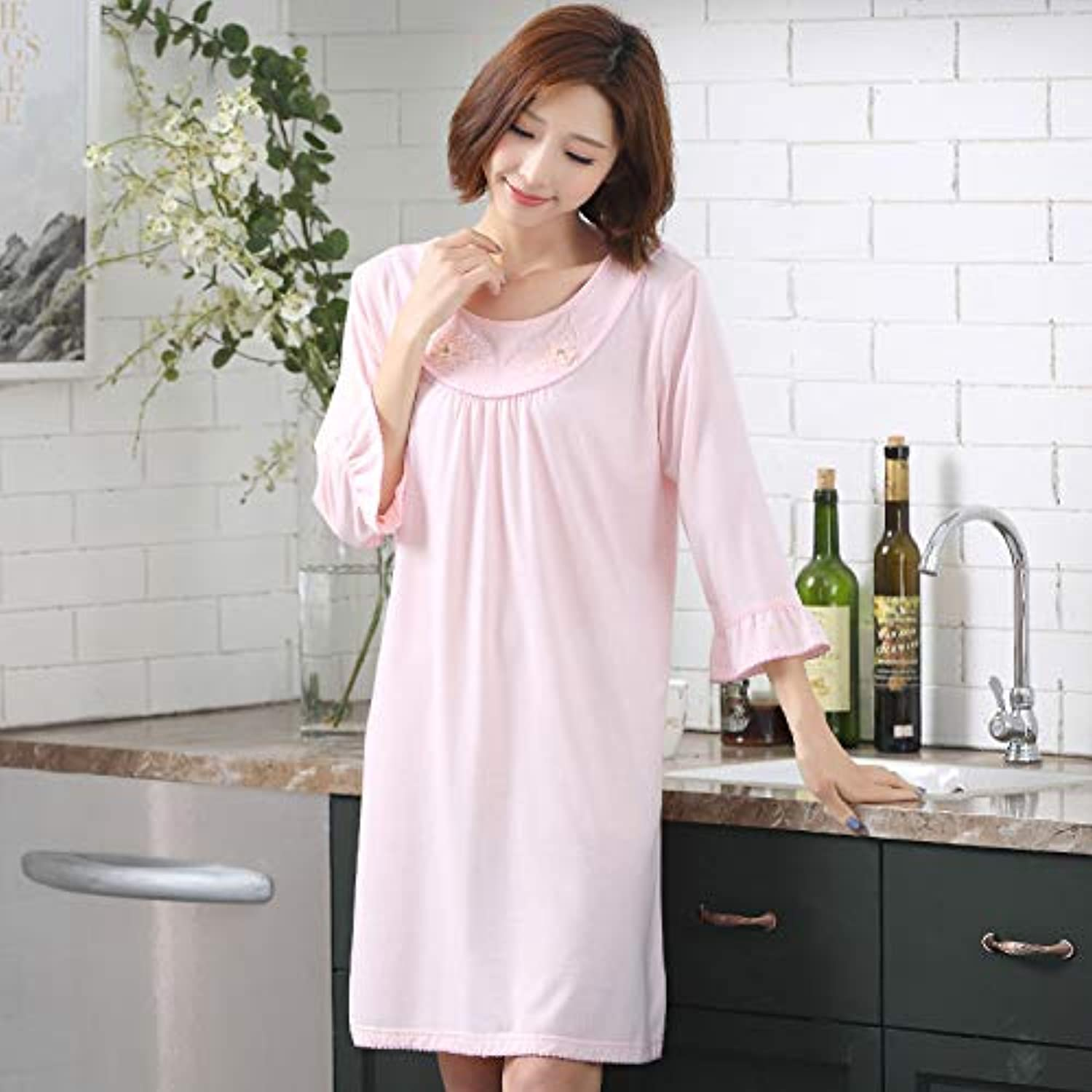 IANXI Home Summer Nightdress Ladies Cotton Thin Section Spring and Autumn SevenPoint Sleeve Modal Mother Pajamas Large Size Home Service (color   Pink, Size   XL)