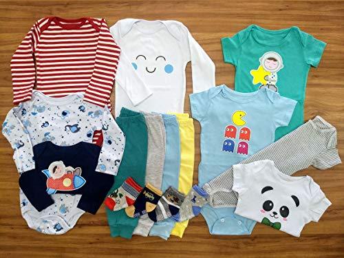 Kit Roupa De Bebe Maternidade 16 Pçs Enxoval Body E Mijão Meninos Tamanho:P