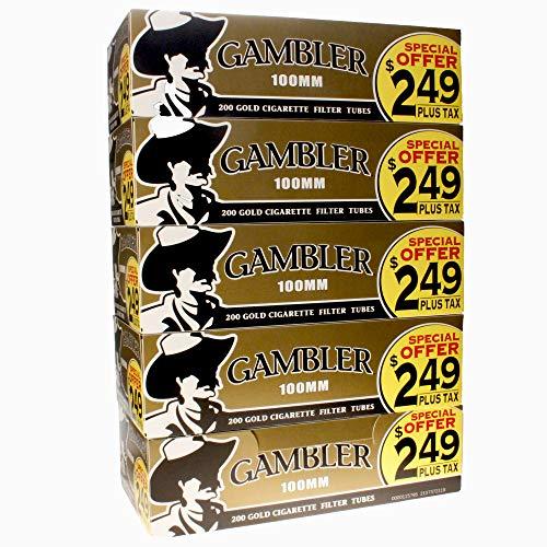 Gambler Gold Light 100mm (100s) Pre-Priced RYO Cigarette Tubes 200ct Box (5 Boxes)