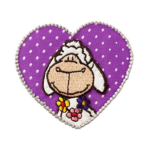 Parches - Nici oveja corazón - púrpura - 6,5x6,5cm - termoadhesivos bordados aplique para ropa