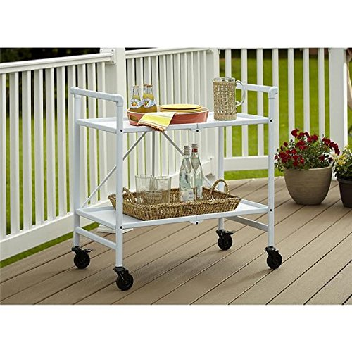 Serving Cart for Dining Room Outdoor Folding Rolling Wheels Portable Serving Cart Bar Trolley Storage Home Kitchen Indoor Food Cocktail Living Room Foldable Shelves Metal White