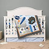 7 PCs Sports Themed Nursery Crib Bedding Set Baby Boy Blue Baseball Football Themed Cot Bedding Set