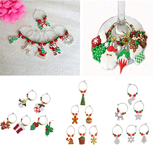Generic 6pcs / Set Christmas Party Wine Glass Charm Marker Rings Xmas Table Decoration