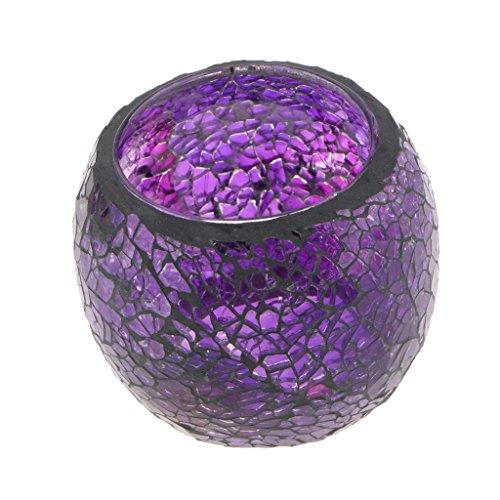 MagiDeal Mosaikglas Teelichthalter Teelicht Windlicht Kerzenhalter Mosaikglas Kugel bunt Ornament - Lila