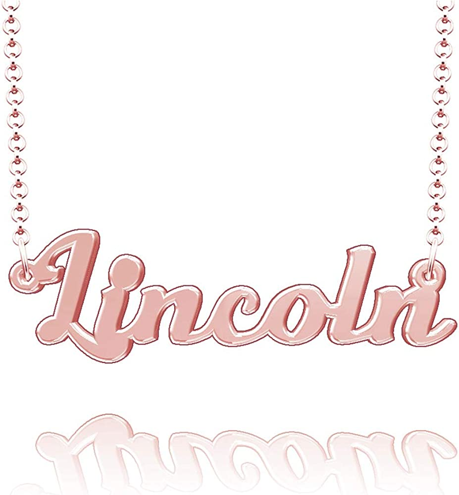 LoEnMe Jewelry Lincoln Name Necklace Stainless Steel Plated Custom Made of Last Name Personalized Gift for Family
