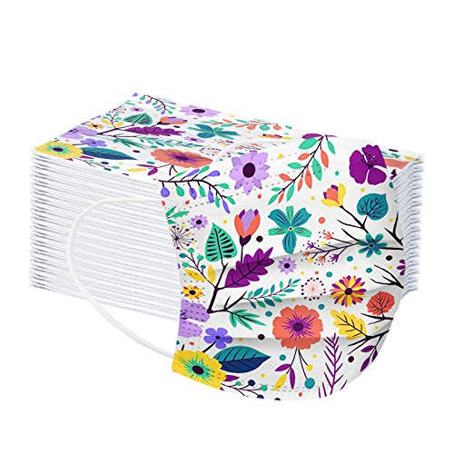 10 100 Pcs Men Women Disposable Face_Mask Adults 3Plys 3D Colorful Butterful Flowers Printed Breathable Face Covering with Ear Loop Breathable Mouth Bandanas Comfortable Skin Friendly