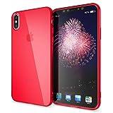 NALIA Cover Custodia Protezione compatibile con iPhone X XS, Ultra-Slim Case Protettiva Trasparente Morbido Telefono Cellulare Silicone Gel Gomma Clear Bumper Sottile, Colore:Rosso